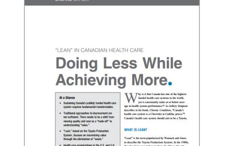 Le Lean santé au Canada: faire moins et parvenir à plus